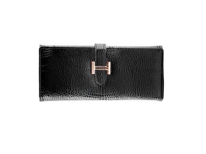 Luxusná Dámska peňaženka z lesklej kože (PU), čierna