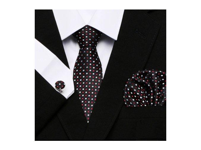 Kravatový set čierny s jemným vzorom