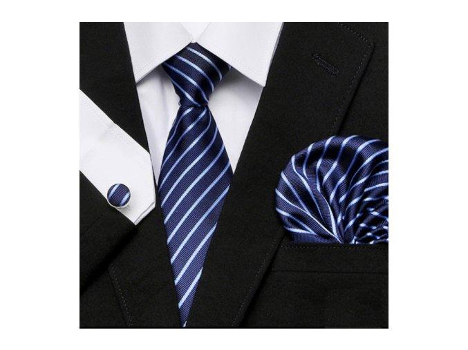 Kravatový set modrý s pruhom