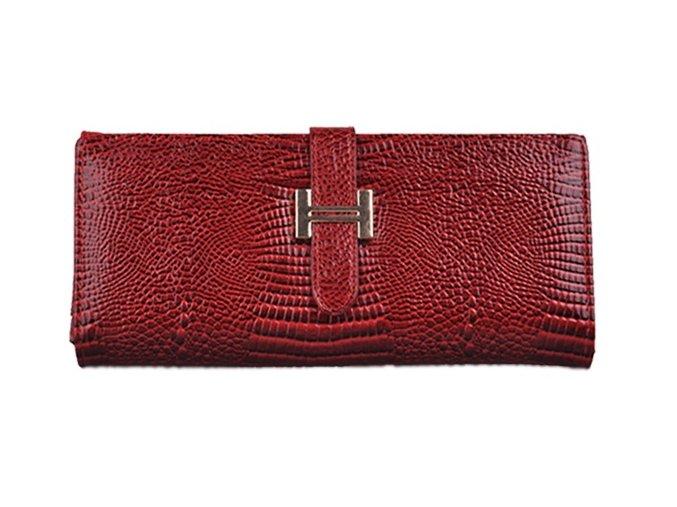 Luxusná Dámska peňaženka z lesklej kože (PU), červená tmavá