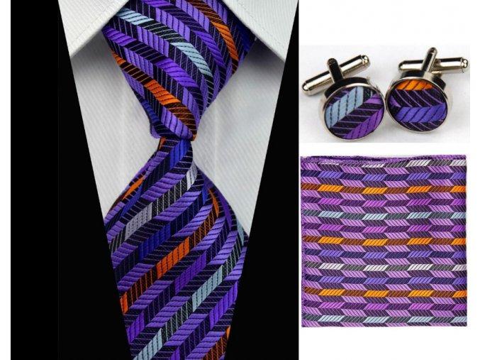 Kravatový set fialový, 100% hodváb