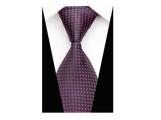 Pánska kravata čierna s ružovou