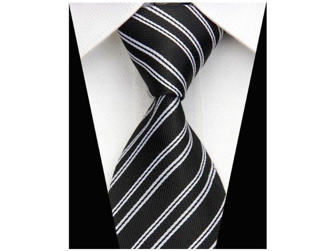 Pánska kravata čierna s pruhmi