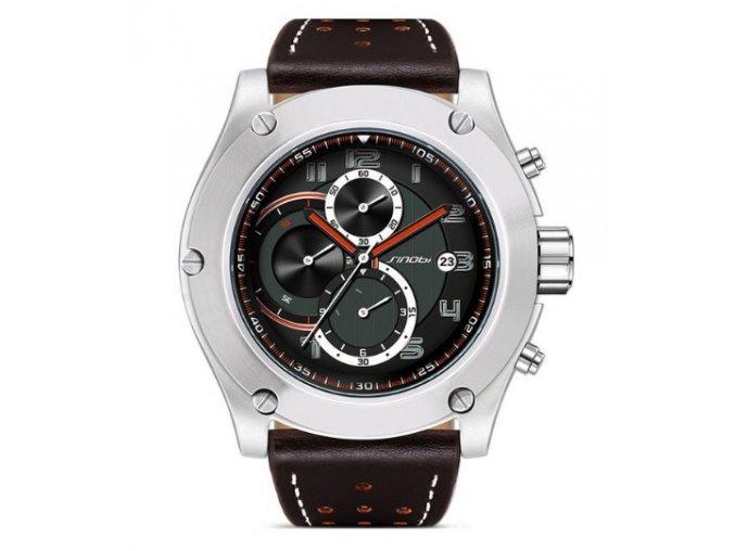 Atraktívne pánske hodinky zn. Sinobi, hnedé s chronografom a dátumom - hnedé