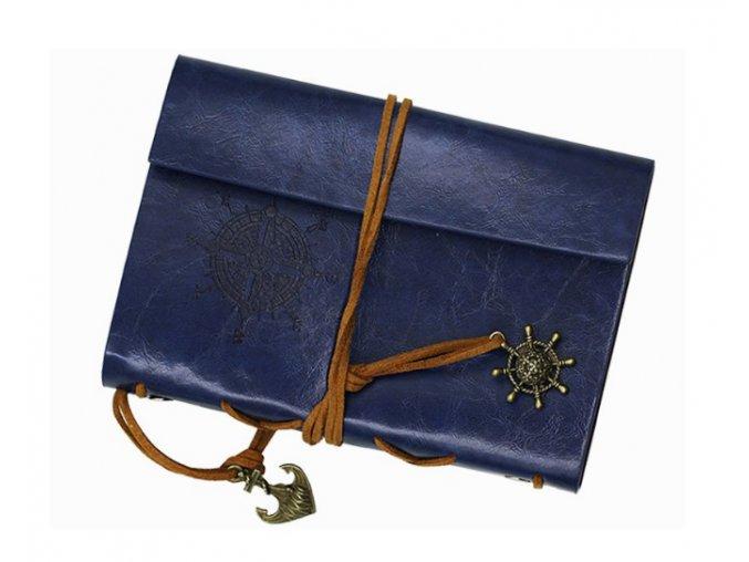 Cestovný denník v štýle vintage - modrý
