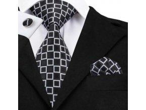 Kravatový set čierny s bielym vzorom, 100% hodváb