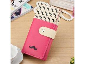 Peňaženka z PU kože s fúzikmi ružová