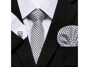 Kravatový set bielo čierny