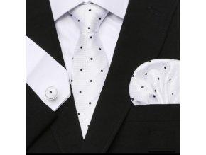 Kravatovy set biely s bodkami