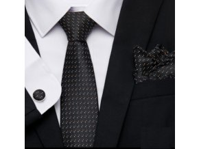Kravatový set čierny s drobným vzorom