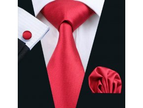 Kravatový set červený, 100% hodváb