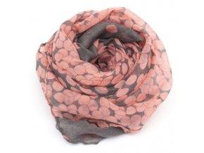 Šatka ružovo sivá - Dots