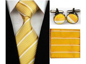 Kravatový set žltý s pruhmi