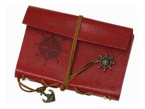 Cestovný denník v štýle vintage - červený