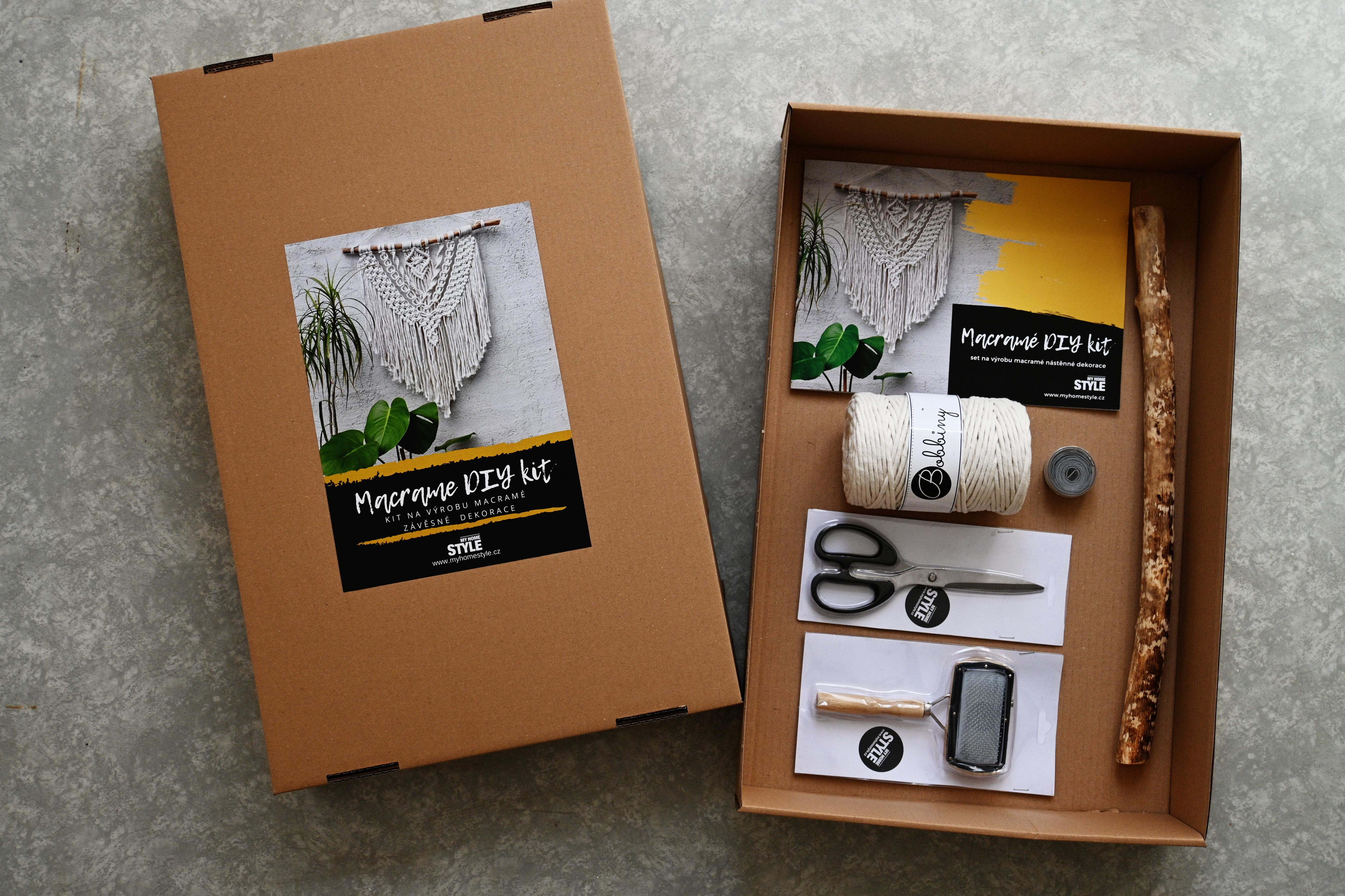 Macramé DIY kit - Tvořivý set na výrobu vašeho prvního MACRAMÉ