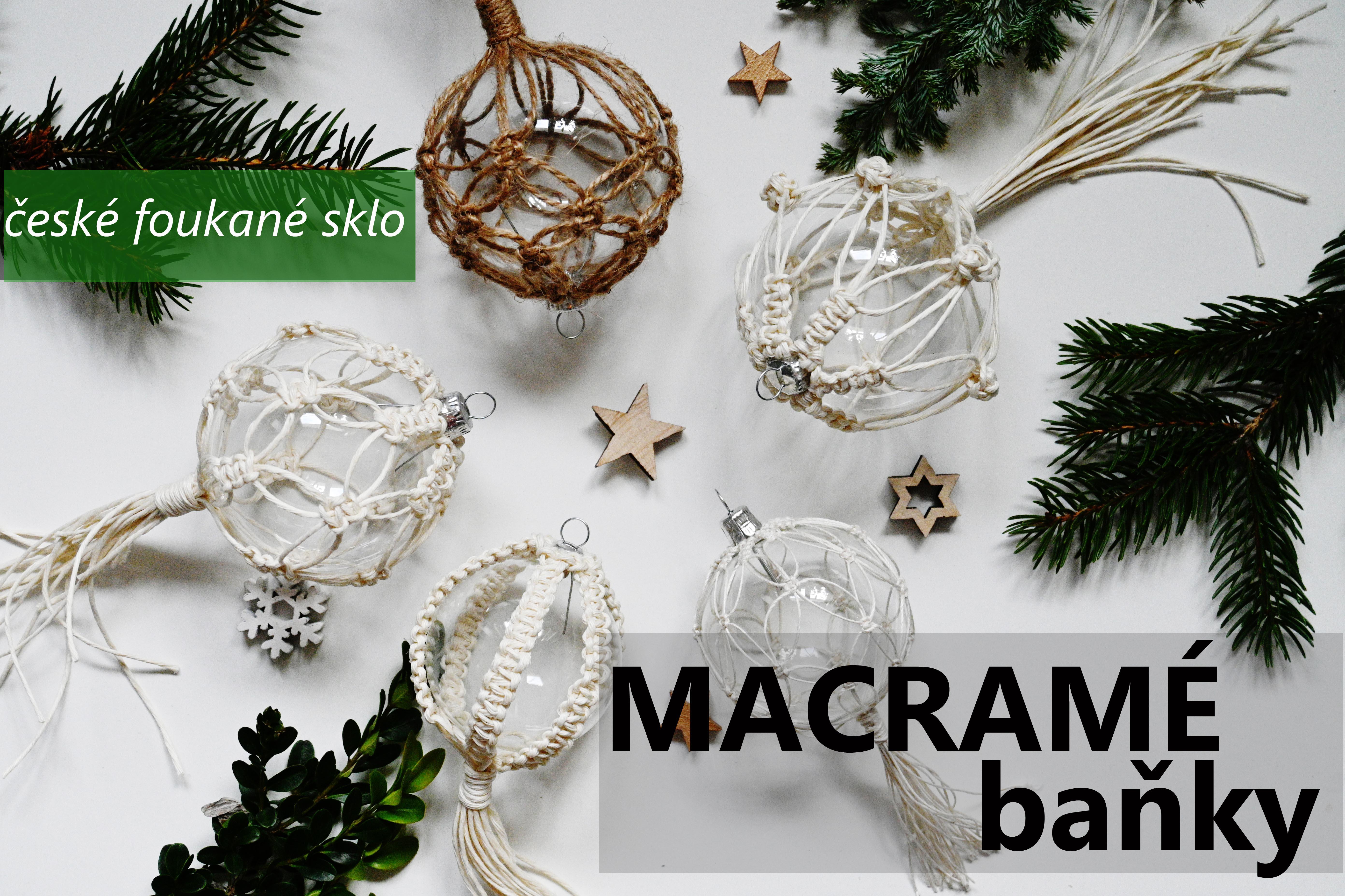 macramé vánoční ozdoby baňky