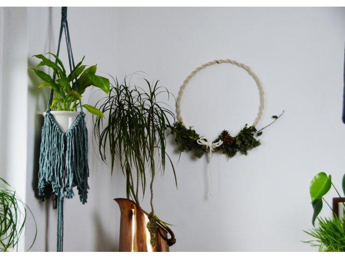 Macramé závěs na květiny  - eukalypt SHAGGY