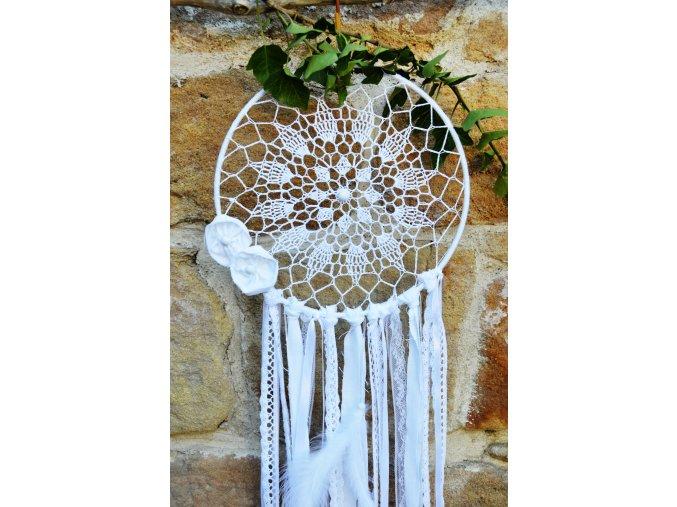 Lapač snů v BOHO stylu FLOWER - bílý XL