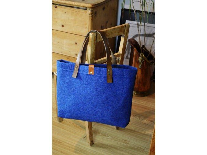 Kabelka / shopperbag s koženými uchy - MODRÁ