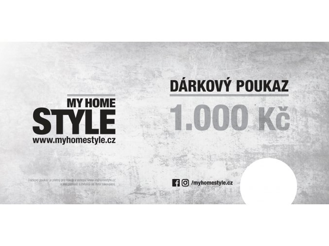 myhomestyle darkovy poukaz DL 1000 tisk s poznamkou