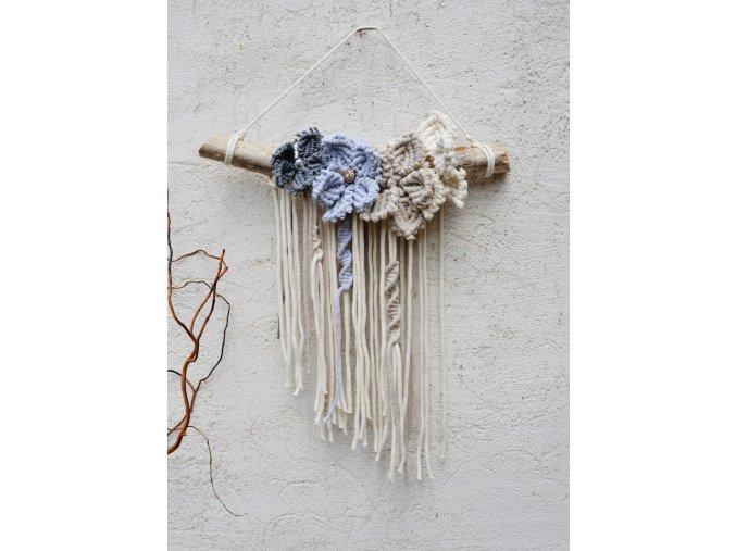 Na větvi - macramé květiny natural-grey