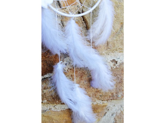 Bílý lapač snů s minerály - KŘIŠŤÁL