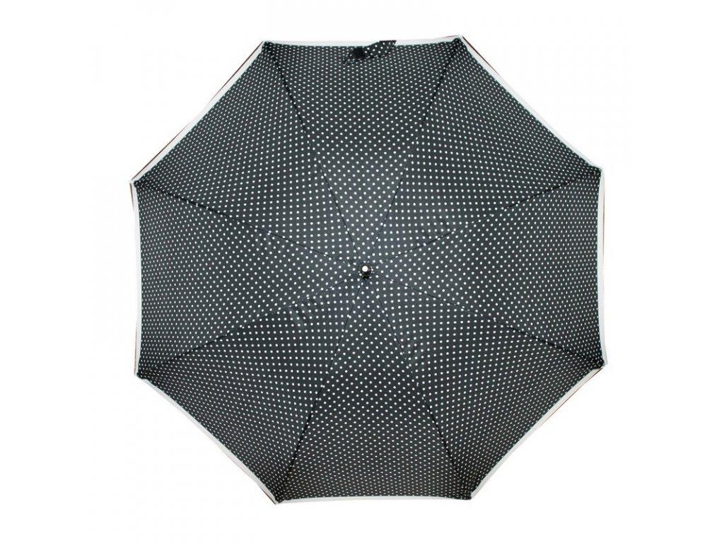 Doppler dámský holový vystřelovací deštník Fiber Flex AC Black & White černý s bílým puntíkem