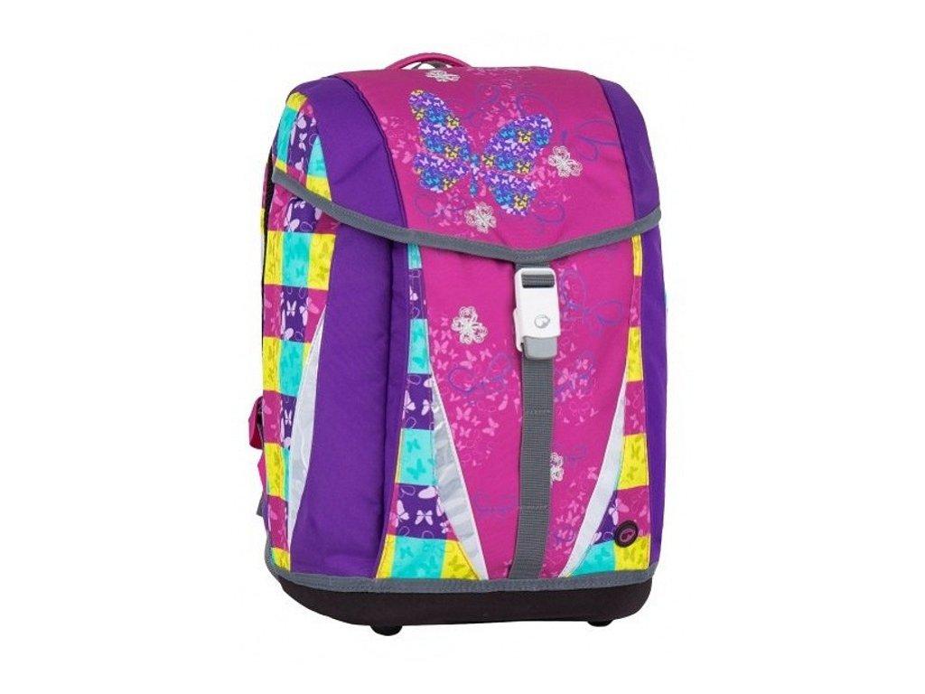 Bagmaster dívčí školní batoh/aktovka pro prvňáčka-motýlek