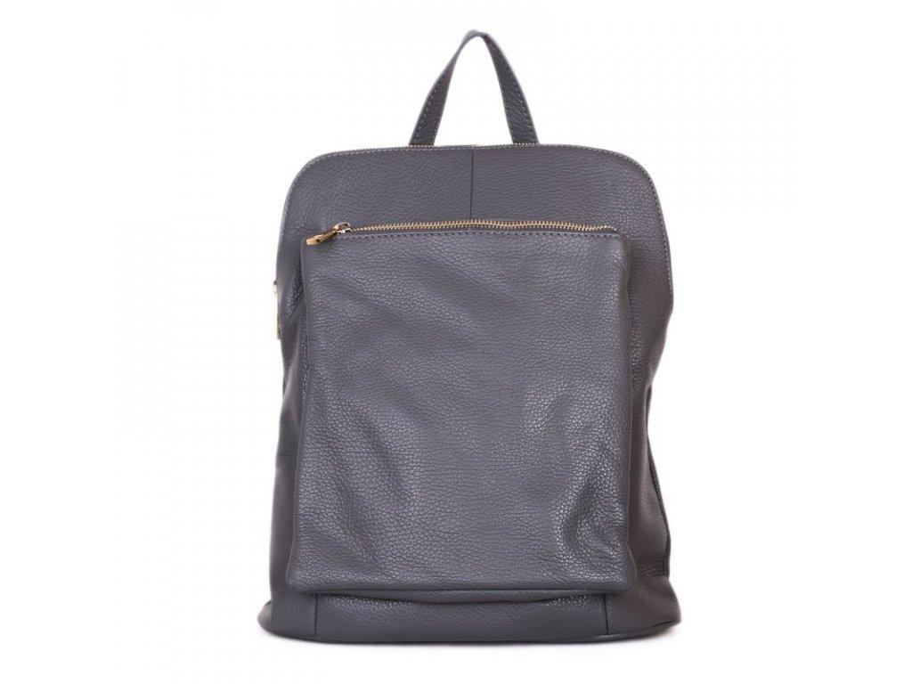 Dámský kožený kabelko-batoh šedý