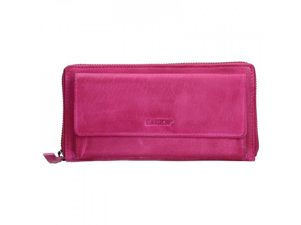 LAGEN dámská peněženka kožená Fuchsia