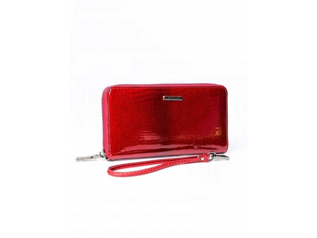 LORENTI luxusní lakovaná peněženka červená