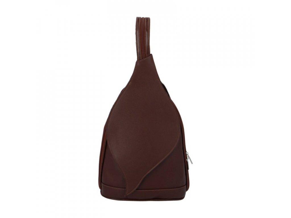 Kožený dámský batoh hnědý