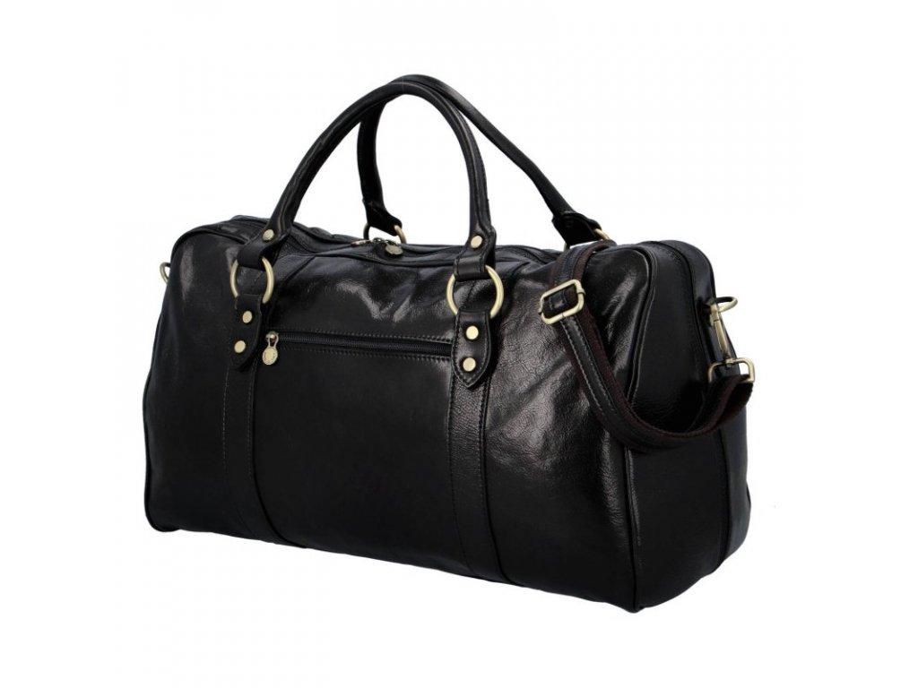 Luxusní cestovní kožená taška- černá