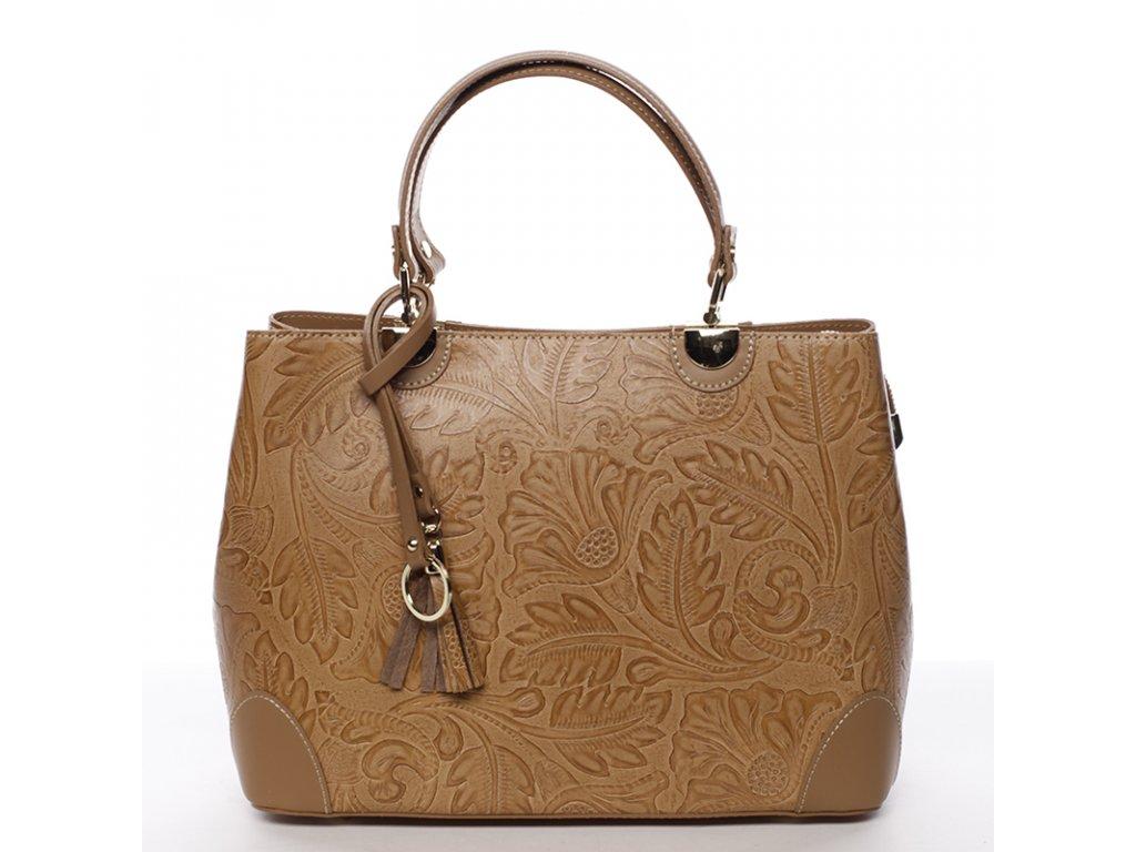 Luxusní kožená kabelka -koňaková
