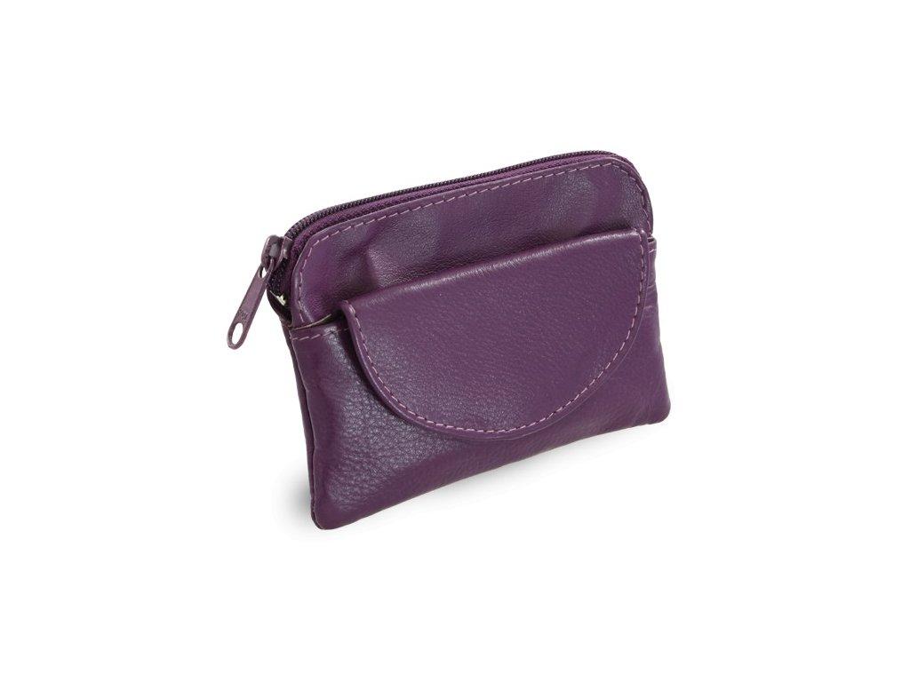 Arwel kožená klíčenka s přední kapsičkou fialová