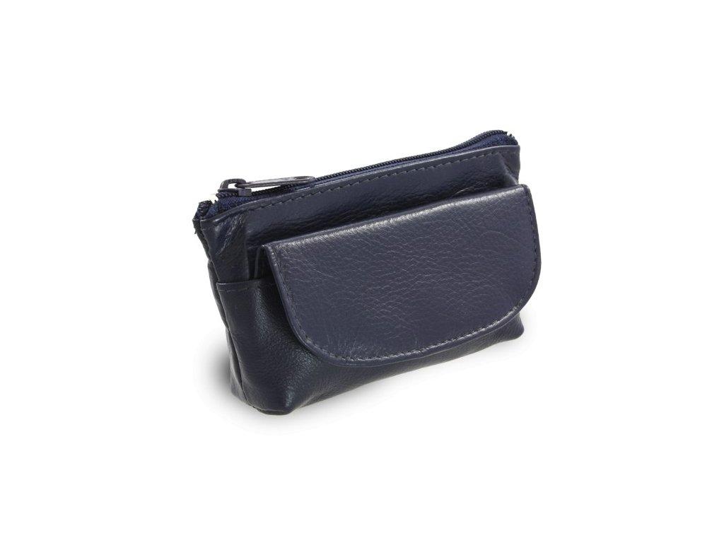 Arwel kožená klíčenka se zipovou a klopnovou kapsičkou modrá