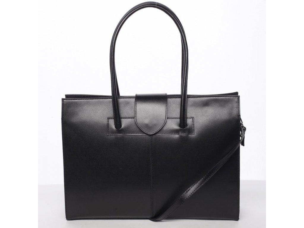 Vera Pelle kabelka z pravé kůže černá