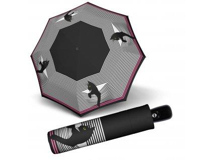 Doppler dámský skládací plně automatický deštník Fiber Magic Cozy Cat kočka