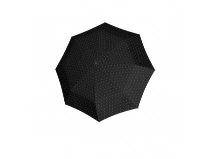 Doppler dámský holový vystřelovací deštník Fiber Flex AC Black & White černý se vzorem