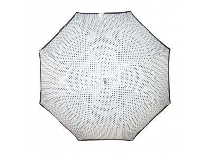 Doppler dámský holový vystřelovací deštník Fiber Flex AC Black & White bílý s černým puntíkem