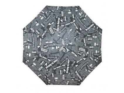 Doppler dámský holový vystřelovací deštník Fiber Flex AC Black & White černý s bílým novinovým potiskem