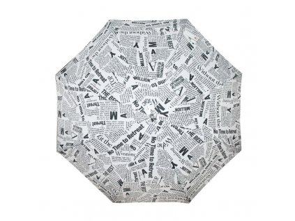 Doppler dámský holový vystřelovací deštník Fiber Flex AC Black & White bílý s černým novinovým potiskem