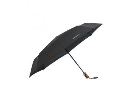Samsonite skládací plně automatický deštník WOOD CLASSIC krátký černý