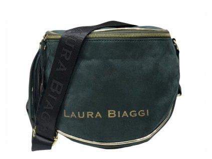 Laura Biaggi semišová crossbody tmavě zelená