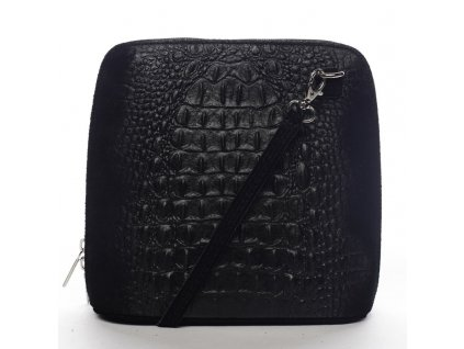 Kožená kabelka crossbody krokodýl černá