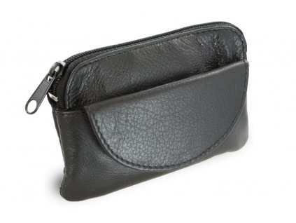 Arwel kožená klíčenka s přední kapsičkou černá