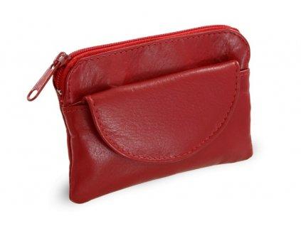Arwel kožená klíčenka s přední kapsičkou červená