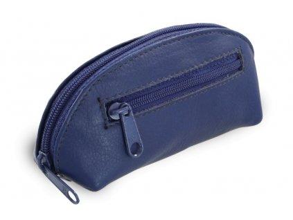 Arwel dvouzipová kožená klíčenka modrá