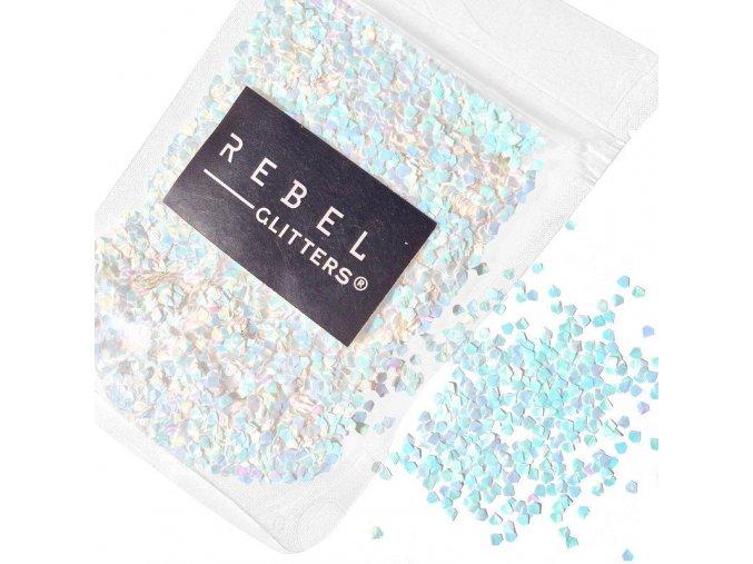 Duhové Bílé Vločky Rebel Glitters 10 g
