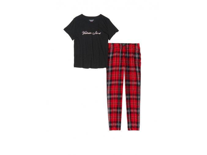 pyžamový set victoria's secret bavlnený v čierno červenej farbe